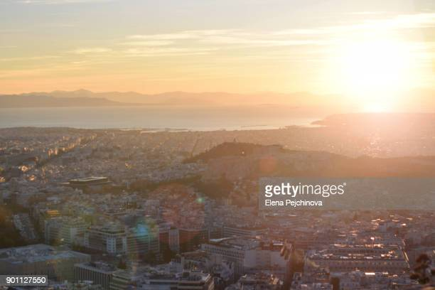 Athens at hazy dusk
