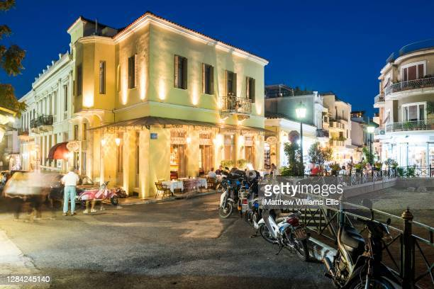 Athens at night, Plaka District, Attica Region, Greece, Europe.