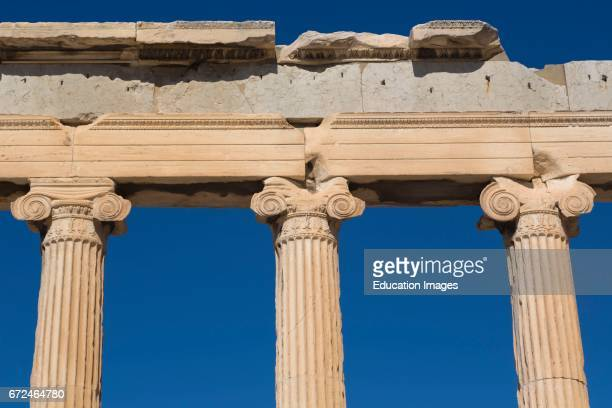 Athens Attica Greece Ionic capitals on columns of the Erechtheion on the Acropolis The Acropolis of Athens is a UNESCO World Heritage Site