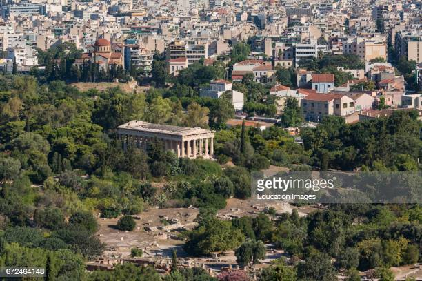 Athens Attica Greece The Doric Temple of Hephaestus or Hephaisteion or Hephesteum in the Agora Seen from the Acropolis