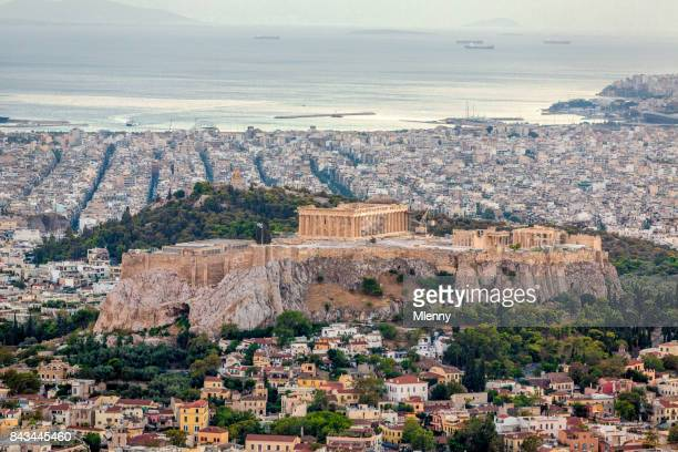 athens cityscape acropolis greece - greek flag stock pictures, royalty-free photos & images