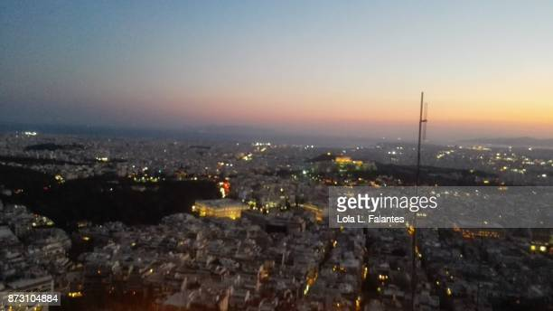 Athens cityscape at sunset.