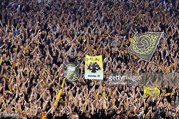 Athens FC fans during the 2011 Greek Cup Final between Atromitos Athens and AEK Athens at the Olympic Stadium on April 30 2011 in Athens Greece AEK...