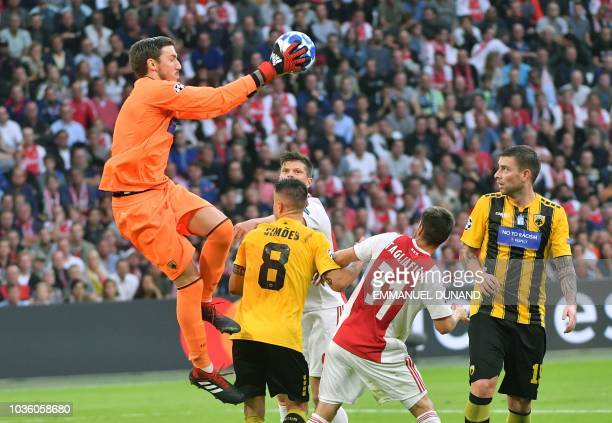 AEK Athens' goalkeeper Vassilis Barkas catches the ball during the UEFA Champions League Group E football match between Ajax Amsterdam and AEK Athens...