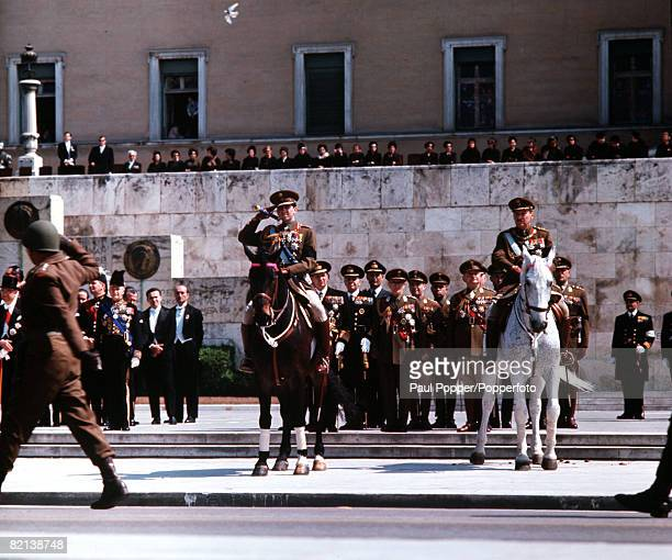 Athens Greece 25th March 1964 King Constantine of Greece is pictured at the Independence Day Parade in Athens