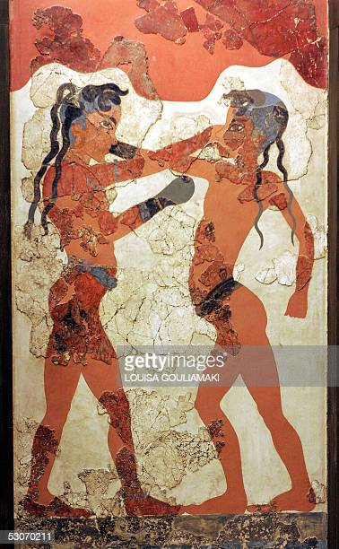 A fresco depicting two young pugilists dated 16th century BC from the Island of Thera is on display at the National Archaeological Museum in Athens...