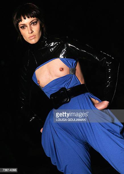 A model presents an outfit by Greek designer Vassilios Kostetsos during the Athens Fashion Week Autumn/Winter 200708 shows late 16 March 2007 AFP...