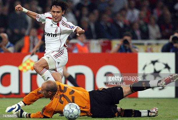 AC Milan's forward Filippo Inzaghi scores a second goal against Liverpool's Spanish goalkeeper Pepe Reina during the Champions League football match...