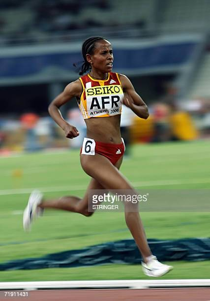 Africa's representative Ethiopean Meseret Defar performs at the 5000m during the 10th IAAF World Cup at the Athens' Olympic stadium 17 September 2006...