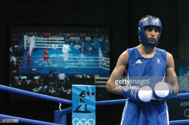 Amir Khan of Great Britain waits for the start of a round against Serik Yeleuov of Kazakhstan during their lightweight Olympic Games semifinal boxing...