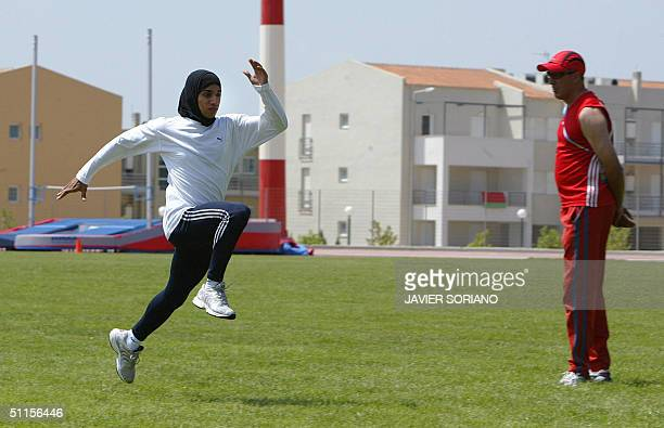 An unidentified Muslim woman trains at the Olympic village in Athens 10 August 2004. The Olympic Games start 13 August 2004. AFP PHOTO JAVIER SORINAO