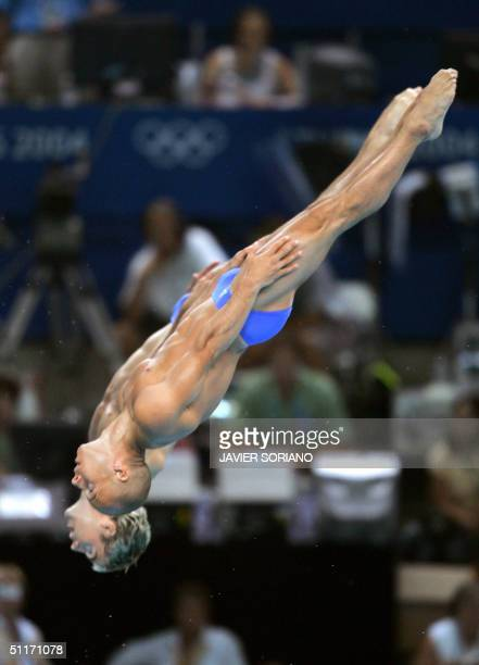 British Leon Taylor and Peter Waterfied perform en route to the silver medal during the men's 10 meters synchronised platform final in Athens 14...