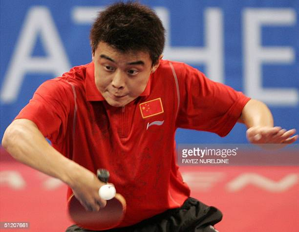 China's Wang Hao returns against Ryu Seung-Min of South Korea during the men's table tennis singles final of the Olympic Games 23 August 2004 in...