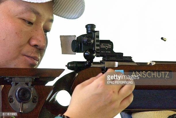 Chinese Jia Zhanbo practices in the 50m rifle 12 august 2004 in Markopoulo shooting center a day before the opening of the 2004 Athens olympic games...