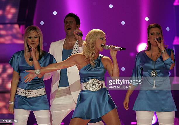 Estonia's representative Sandra performs her song Through my window during the 2006 Eurovision semifinal dress rehearsal at the Athens Olympic Indoor...