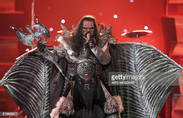 Finland's Lordi performs the song 'Hard Rock Hallelujah' during the 51st Eurovision final song contest at the Athens Olympic Indoor Hall 20 May 2006...
