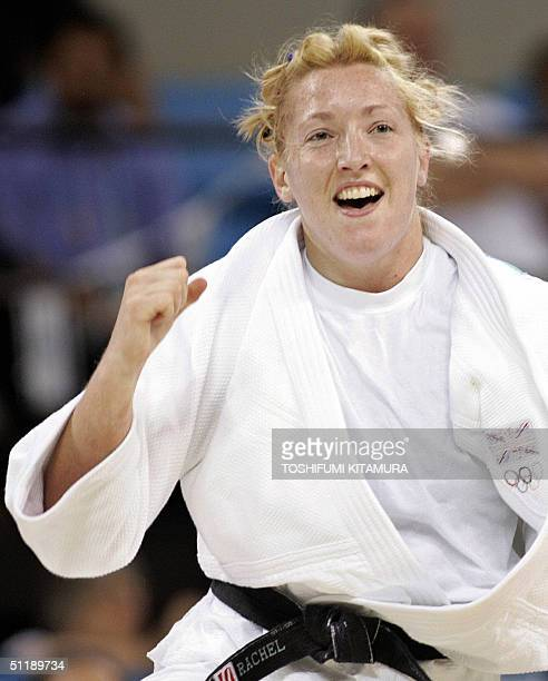 Great Britain's judoka Rachel Wilding clinches her fist after beating Esther San Miguel of Spain in the second round match of women's judo under...
