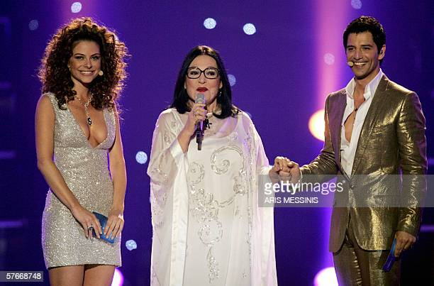 Greek singer Nana Mouskouri US actress Maria Menounos and Greek pop idol Sakis Rouvas are seen during the presentation of the Eurovision Song Contest...