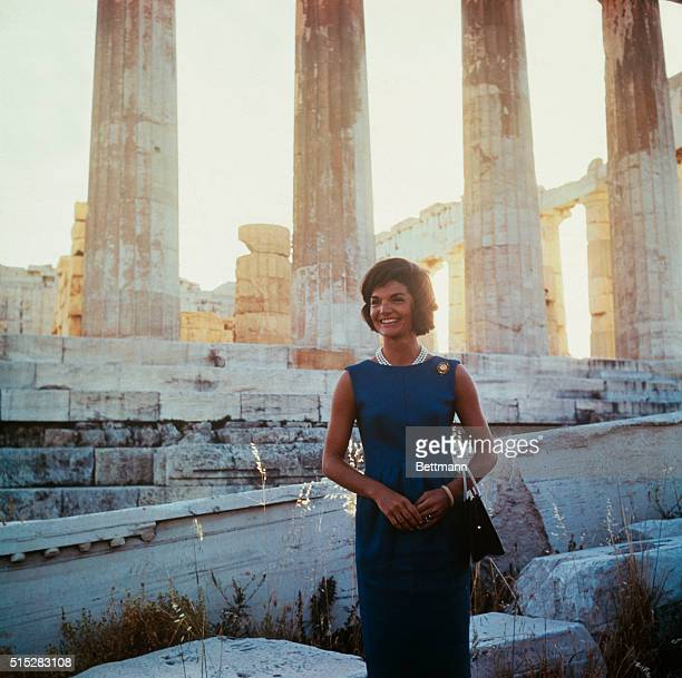 Athens Greece Jacqueline Kennedy touring the Acropolis in background is the Parthenon