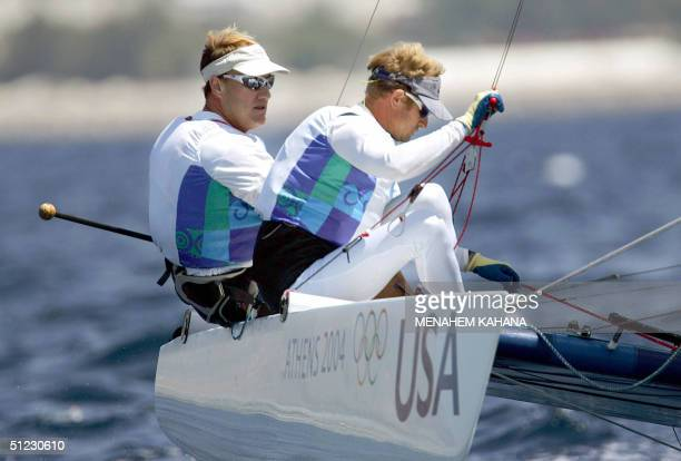 John Lovell and Charlie Ogletree from USA silver medal winners compete during the last race of Open Multihull Tornado class 28 August 2004 Athens...