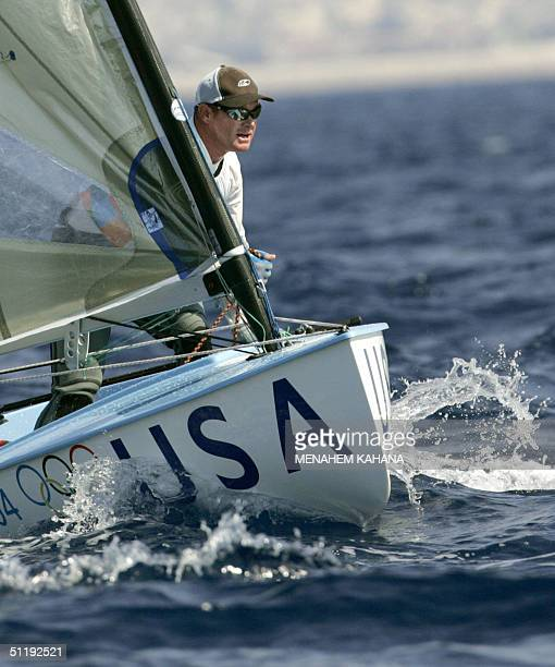 Kevin Hall of the US saisl during the Men's Singlehanded Dinghyfinn class race Ten 19 August 2004 at the sixth day of competition in the 2004 Olympic...