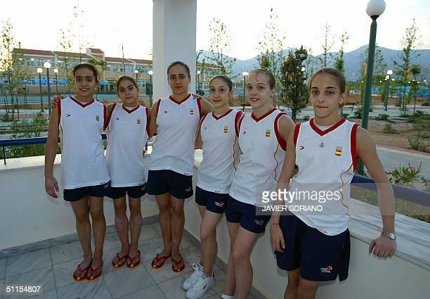 Members of the Spaniard female gymnastics team from L to R Tania Gener Laura Campos Monica Mesalles Sara Moro Elena Gomez and Patricia Moreno pose at...