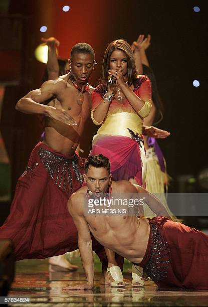 Monaco's representative Severine Ferrer performs her song The Coco dance during the 2006 Eurovision semifinal dress rehearsal at the Athens Olympic...