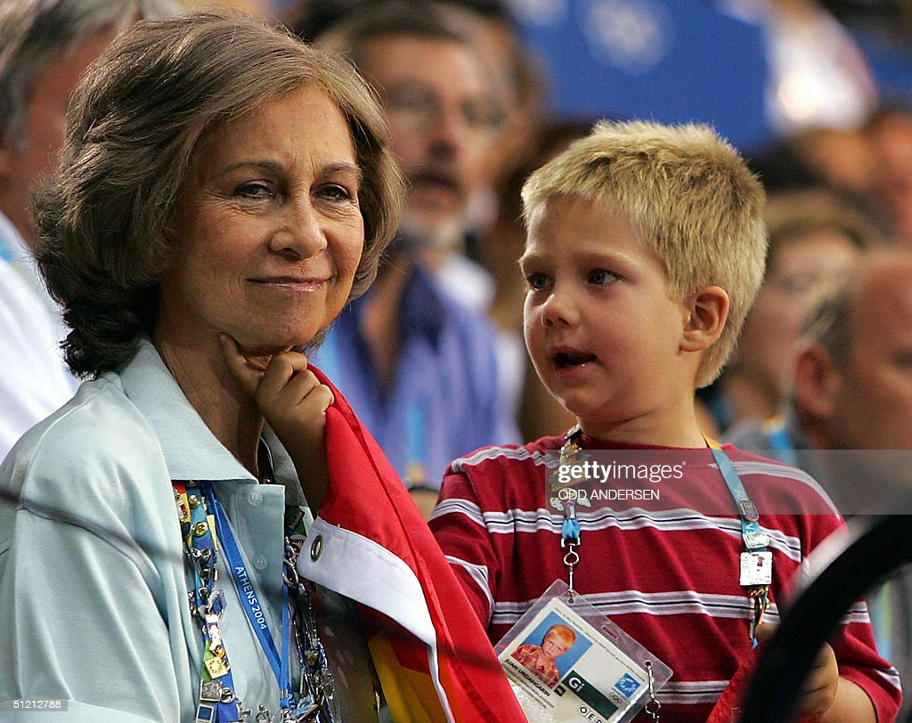 Queen Sofia of  Spain is tickled by her : News Photo