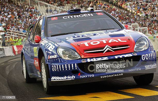 Sebastian Loeb of France and his codriver Daniel Elena of Monte Carlo drive their Citroen Xsara during the super special stage of the Acropolis Rally...