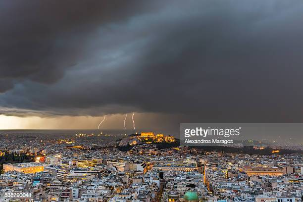 Athens, Greece struck by lightning storm