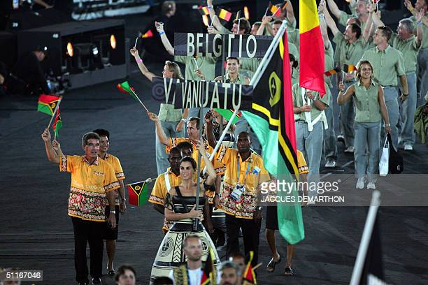 The delegation from Vanuatu parades during the opening ceremony of the XXVIII Olympic Games 13 August 2004 at Olympic Stadium in Athens AFP PHOTO /...