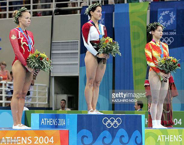Winners of the women's trampoline final gold medallist Anna Dogonadze of Germany silver medallist Karen Cockburn of Canada and bronze medallist Hung...