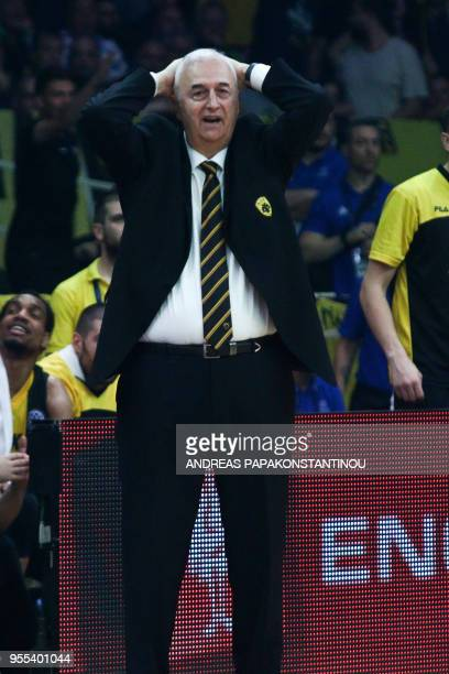 AEK Athen's head coach Dragan Sakota reacts during the final four Champions League final basketball game between AS Monaco and AEK Athens at the OAKA...
