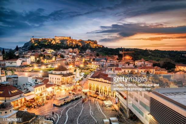 athens nightview - athens greece stock pictures, royalty-free photos & images