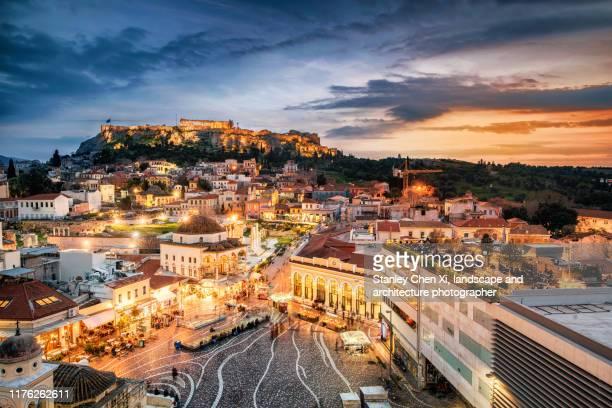 athens nightview - アテネ ストックフォトと画像