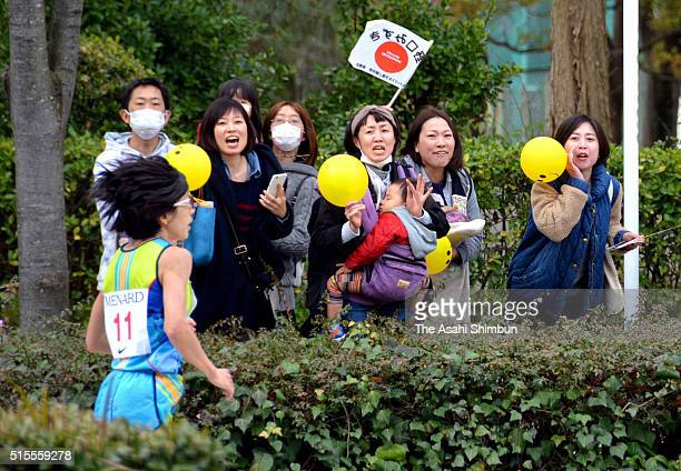 Athens Olympic Women's marathon gold medalist Mizuki Noguchi competes during the Nagoya Women's Marathon at the Nagoya Dome on March 13 2016 in...
