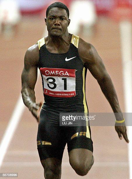Athens Olympics champion Justin Gatlin of the United States sprints during the men's 110m in the Shanghai Golden Grand Prix 2005 at Shanghai Stadium...