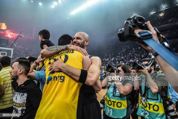 AEK Athens players celebrate after winning the Final Four Champions League basketball final game between AS Monaco and AEK Athens at the OAKA Stadium...