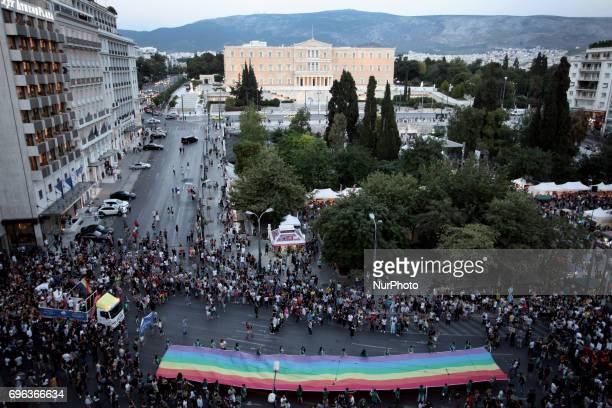 Athens Pride 2017 Thousands of people march in the streets during the annual Gay Pride parade organized by LGBT activists in Athens Greece June 10...
