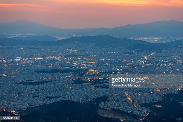 Athens skyline cityscape at sunset