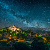 city athens greece under beautiful starry