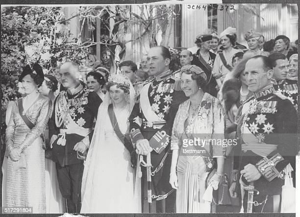 Athens: Wedding Party At Royal Athens Ceremony. These members of the gay wedding party after the marriage of Crown Prince Paul of Greece and Princess...