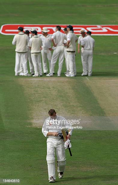Atherton after being dismissed by McGrath England v Australia 4th Test Headingley Aug 01