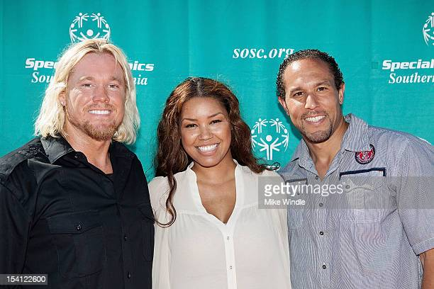 Athete Breaux Greer actress Raquel Bell and Josh Johnson pose during the Special Olympics Southern California 14th Annual Pier Del Sol Event at Santa...