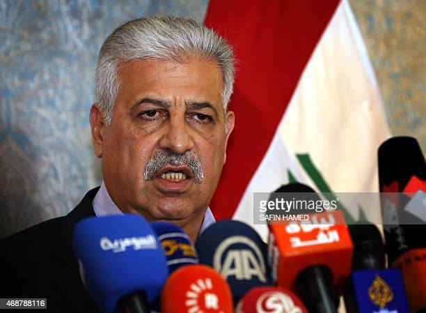 Athil al-Nujaifi, the governor of Mosul, speaks during a press conference about Iraqi forces' military operations to retake the city of Mosul and...