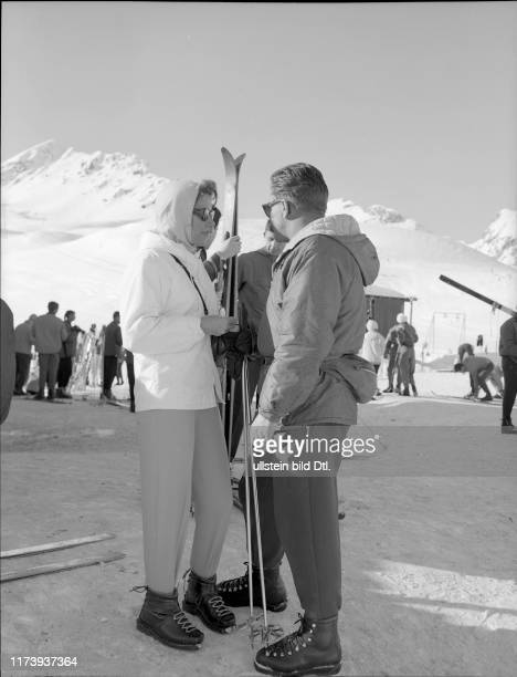 Athina Livanos and companions on Corviglia mountain in St Moritz 1960 Athina Livanos and companions on Corviglia mountain in St Moritz 1960