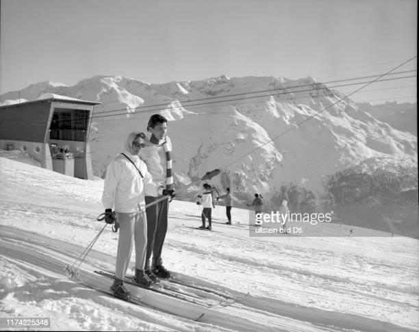 Athina Livanos and Gunter Sachs in Corviglia mountain ski resort in St. Moritz, 1960