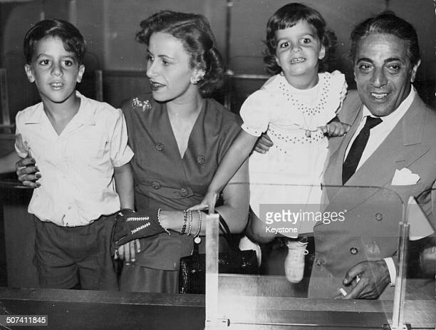 Athina Livanos and her husband Aristotle Onassis with their children Alexander and Christina attending the launch of the biggest tanker in the world...