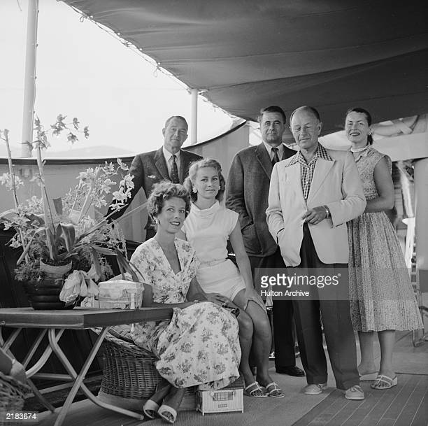 Athina Livanos Onassis first wife of the Greek shipping tycoon Aristotle with friends on board the family's luxury yacht 'Christina' in Monte Carlo...