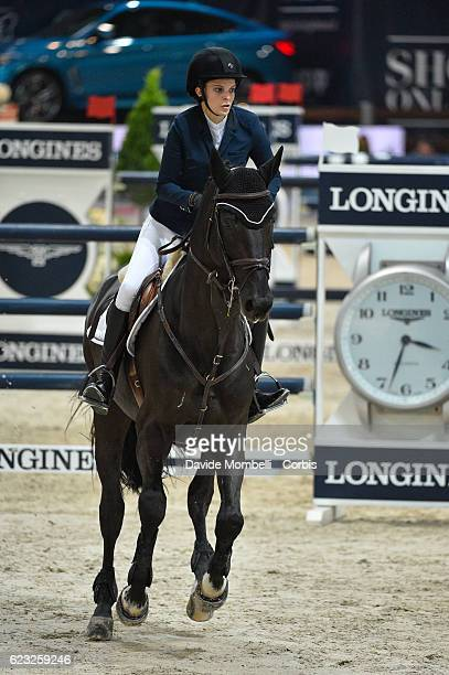 Athina of Greece rides AD Rackham'Jo during the FEI Longines CSI5* World Cup Small Tour By BMW Jumping Verona 2016 on November 10 2016 in Verona Italy